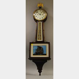"New Haven Clock Co. ""Willard"" Mahogany and Eglomise Glass Banjo Timepiece"