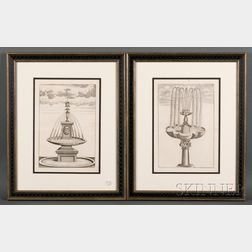 Eight Framed Copper Engravings of Fountains