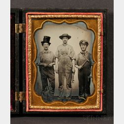 Quarter Plate Vocational Ambrotype of Three Men Holding Tools