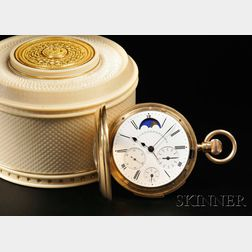 18kt Gold Triple-date Minute-repeating Watch with Delphin Broussailles   Ornamentally Turned Ivory Watch Casket