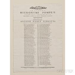 Pompei, Girolamo (1731-1788) In Funere Hieronymi Pompeii Patricii Veronensis.