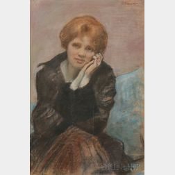 Kenneth Frazier (American, 1867-1949)      Woman Seated, Resting Face in Hands