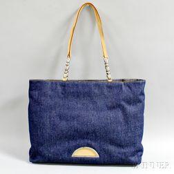 Christian Dior Blue Denim Tote Bag