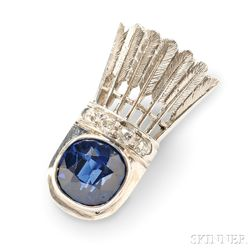 Art Deco Platinum, Sapphire, and Diamond Shuttlecock Brooch, Raymond Yard