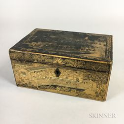 Chinese Export Lacquered and Pewter Tea Caddy