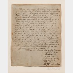 Davis, Jefferson (1808-1889) Document Signed, 1 December 1844.