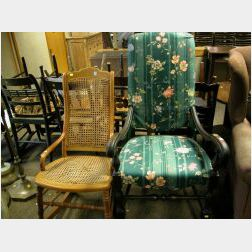 Queen Anne Style Upholstered Spanish-foot Chair and an Oak and Maple Caned Rocker.