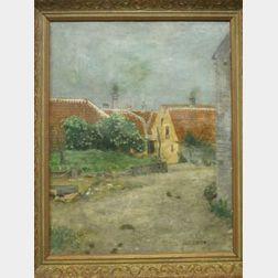 Framed Oil Danish Village Scene