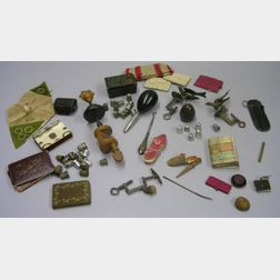 Approximately Thirty-five Thimbles and Other Assorted Sewing Accessories