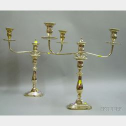 Pair of English Silver Plated Convertible Two-light Candelabra