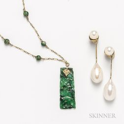 14kt Gold and Carved Jadeite Necklace and a Pair of 18kt Gold and Baroque Pearl Earrings