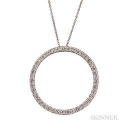 18kt White Gold and Diamond Circle Pendant, Roberto Coin