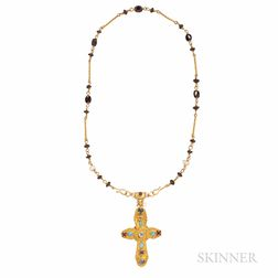 18kt Gold Gem-set Cross and Chain