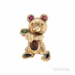 14kt Gold Gem-set Teddy Bear Pendant