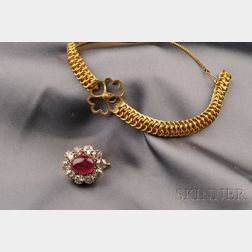 Antique 14kt Gold, Ruby and Diamond Brooch/Bracelet, St. Petersburg