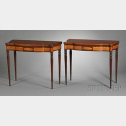 Pair of Federal Mahogany Carved and Flame Birch Inlaid Card Tables