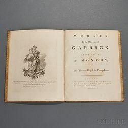Sheridan, Richard Brinsley (1751-1816) Verses to the Memory of Garrick.