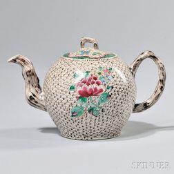 Staffordshire White Salt-glazed Stoneware Teapot and Cover