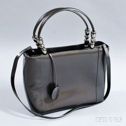 Christian Dior Gray Patent Leather Tote Bag