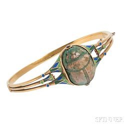 Art Deco Egyptian Revival 18kt Gold and Enamel Bracelet, TB Starr