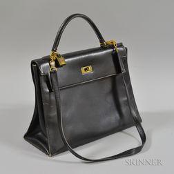 Hermes Black Leather Kelly Handbag