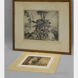 Sir Frank Brangwyn (British, 1867-1956)      Two Etchings: Figures by a Church