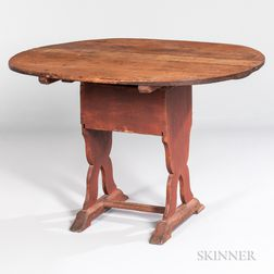Red-painted Pine and Oak Shoe-foot Hutch Table