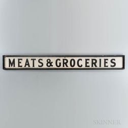 """Large Painted """"MEATS & GROCERIES"""" Sign"""
