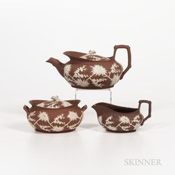 Three-piece Wedgwood Rosso Antico Tea Set