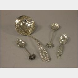 Durgin Sterling Silver Chrysanthemum Pattern Sauce Spoon and Three Sterling and   Plated Souvenir Spoons