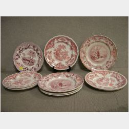 Eleven Red and White Transfer Staffordshire Plates