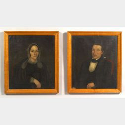American School, 19th Century    Two Portraits:  Joseph Kneeland and Ruth Hartwell.