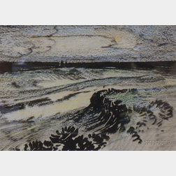 Framed Ink Wash and Pastel Drawing on Paper/board of a Coastal View with Dunes