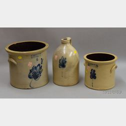 Two Cobalt Floral Decorated Stoneware Crocks and a Jug