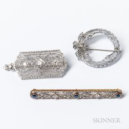 Three Art Deco Diamond Brooches