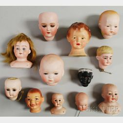 Group of Twelve Doll Heads