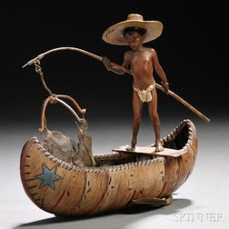 Franz Bergman Cold-painted Bronze Figure of a Boy in a Canoe