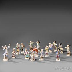 Fifteen Assembled Meissen Porcelain Monkey Band Figures