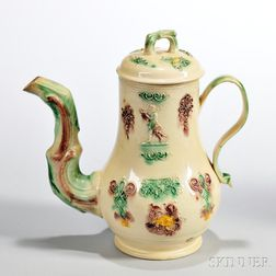 Cream-colored Earthenware Coffeepot and Cover