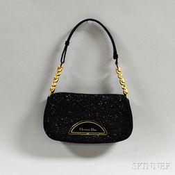 Christian Dior Black Beaded Satin Evening Bag