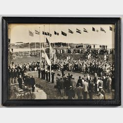 Framed Black-and-white Photograph of Yachting Team Medal Ceremony at the 1952 Helsinki Olympics