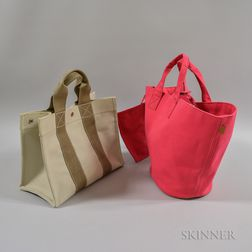 Two Hermes Canvas Bags