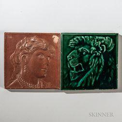 Two Hamilton Tile Works Art Pottery Tiles