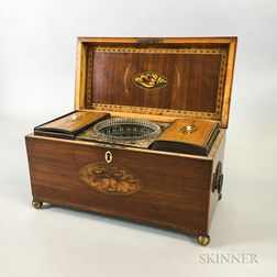 Regency-style Inlaid Mahogany Tea Caddy