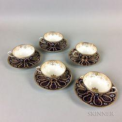 Set of Five Cauldon Porcelain Teacups and Saucers.     Estimate $20-200