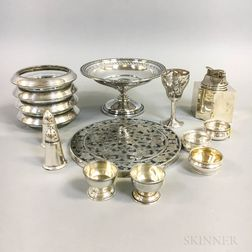 Group of Silver-mounted Glass Tableware and Sterling Silver Tableware