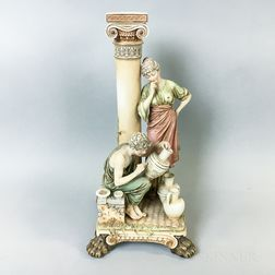 Continental Bisque Porcelain Classical Scene
