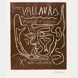 Pablo Picasso (Spanish, 1881-1973)      Vallauris Peinture et Lumière Xe Anniversaire