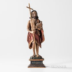 Polychrome Carved Wood Figure of St. John the Baptist