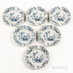 Set of Six Blue and White Tin-glazed Plates